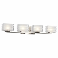 Kichler 45480NI Bazely Contemporary Brushed Nickel Finish 5  Tall Halogen 4 Light Bathroom Wall Sconce