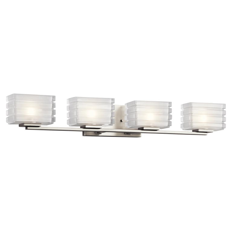 Kichler 45480ni bazely contemporary brushed nickel finish for 4 light bathroom fixture