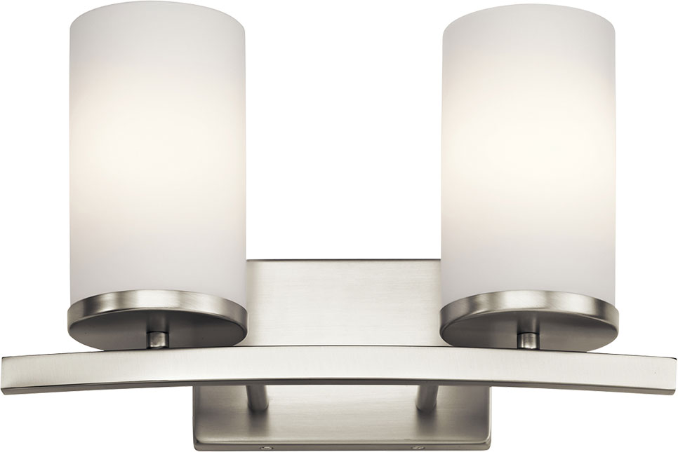 Kichler 45496NI Crosby Modern Brushed Nickel 2Light Vanity Light Fixture  KIC45496NI