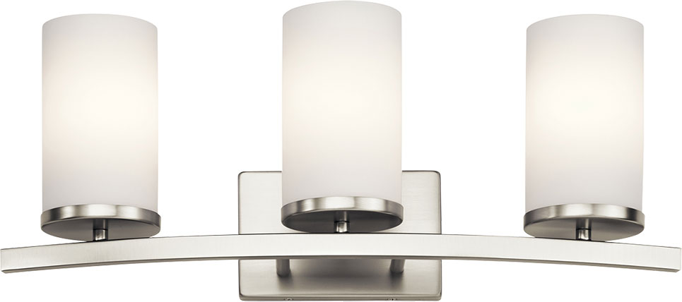 Bathroom Sconces Brushed Nickel kichler 45497ni crosby contemporary brushed nickel 3-light