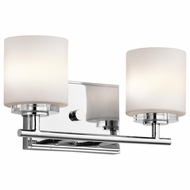 Kichler 45501CH O Hara Chrome Finish 6.25  Tall Halogen 2 Light Bathroom Sconce Lighting
