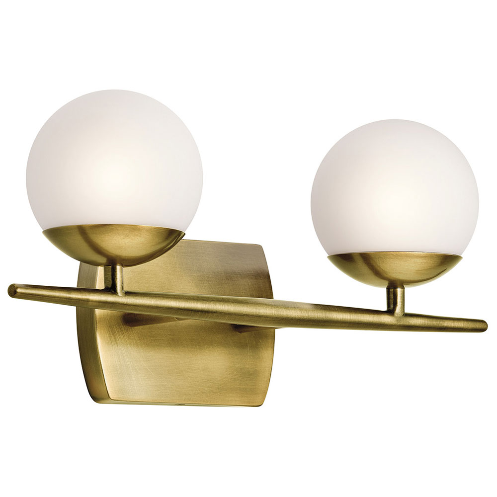 Kichler 45581nbr jasper modern natural brass halogen 2 for Bathroom 2 light fixtures