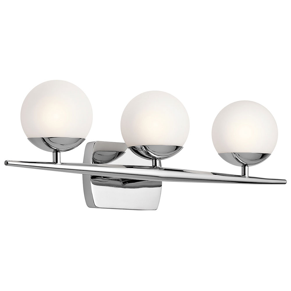 Halogen Bathroom Wall Sconces : Kichler 45582CH Jasper Contemporary Chrome Halogen 3-Light Bathroom Wall Sconce - KIC-45582CH
