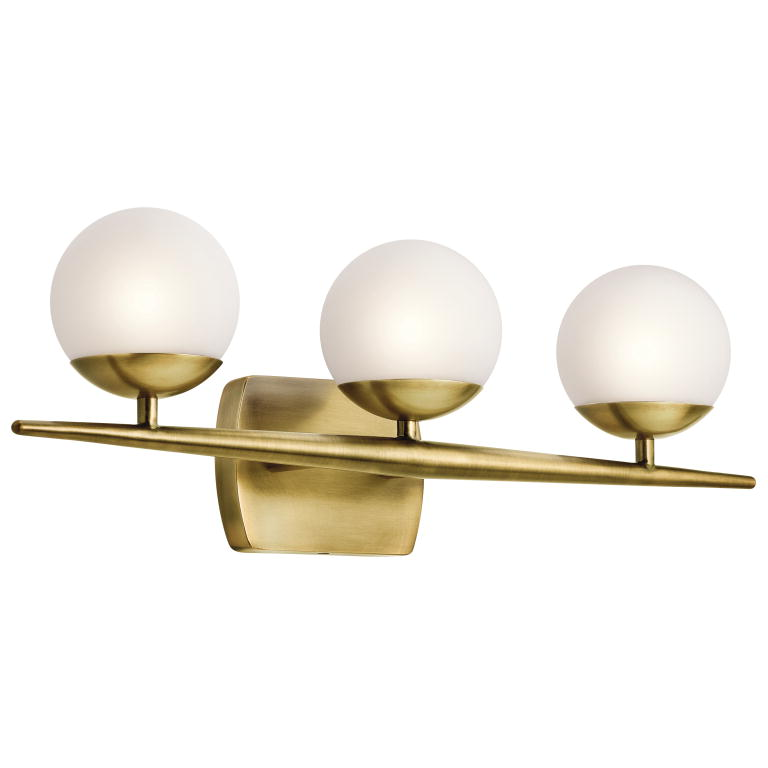 Halogen Bathroom Wall Sconces : Kichler 45582NBR Jasper Modern Natural Brass Halogen 3-Light Bath Wall Sconce - KIC-45582NBR