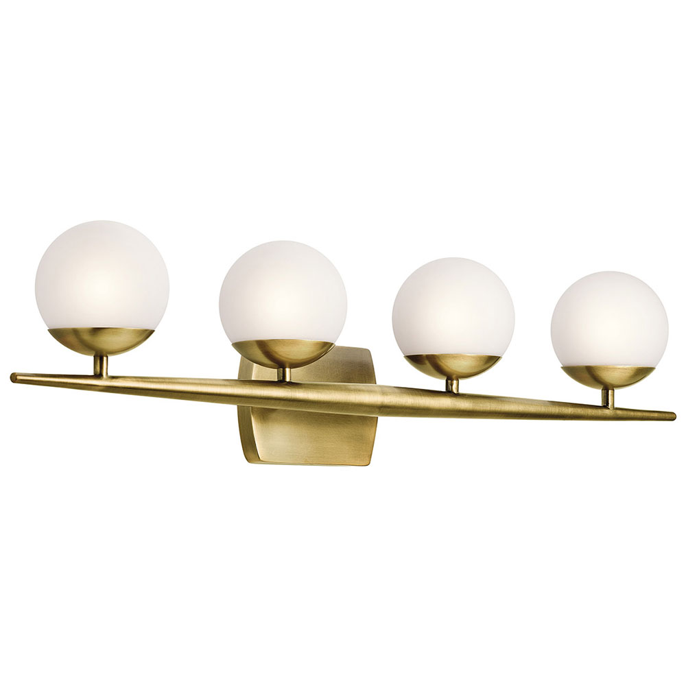 Kichler 45583NBR Jasper Modern Natural Brass Halogen 4 Light Bathroom  Lighting Sconce. Loading Zoom