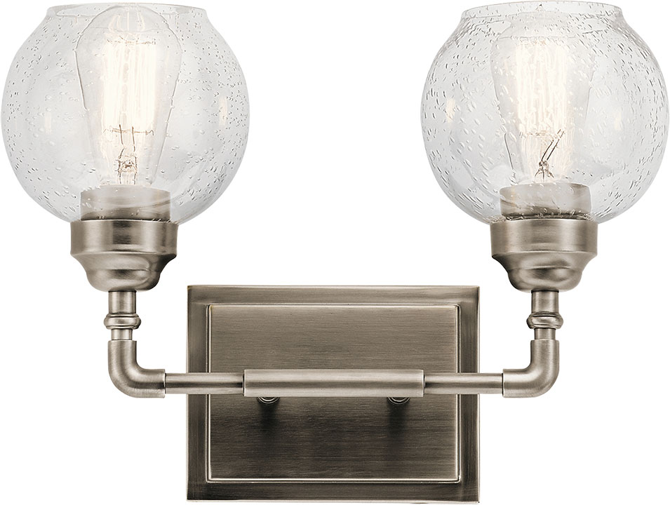 Kichler 45591ap niles modern antique pewter 2 light bath for Vintage bathroom lighting fixtures