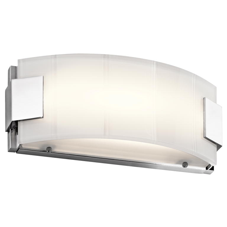 "Led Bathroom Wall Light Fixtures kichler 45604chled largo modern chrome led 12"" bathroom wall light"