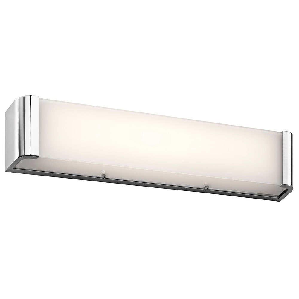 bathroom led lighting fixtures kichler 45617chled landi contemporary chrome led 24 16042