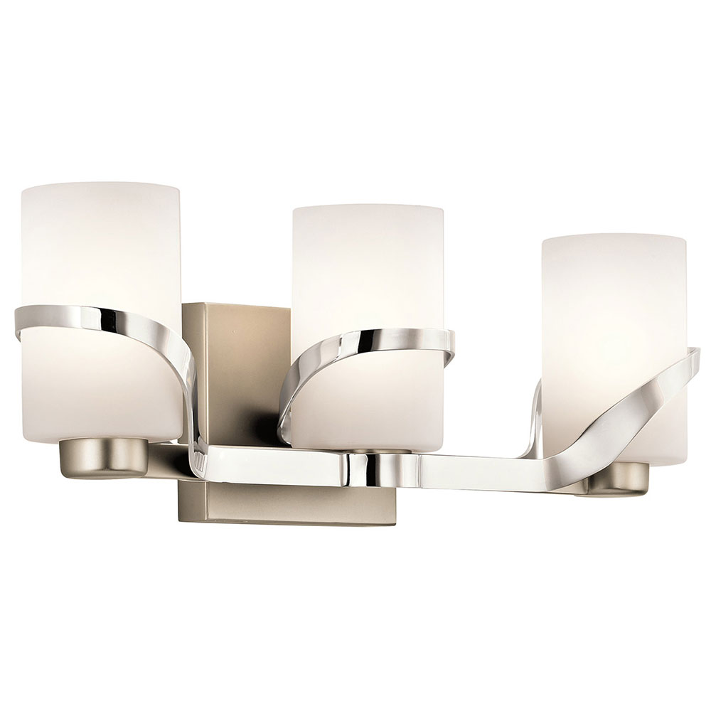 Kichler 45629pn stelata contemporary polished nickel 3 for Bathroom 3 light fixtures