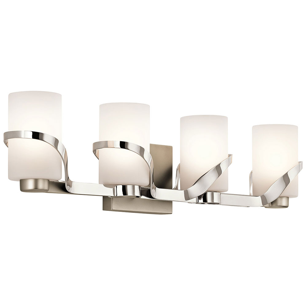Polished Nickel Bathroom Vanity Light: Kichler 45630PN Stelata Modern Polished Nickel 4-Light