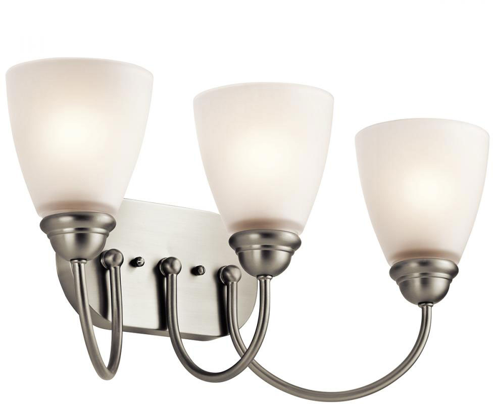 bathroom vanity lights chrome finish. Kichler 45639NI Jolie Brushed Nickel 3 Light Bathroom Vanity Fixture  Loading Zoom