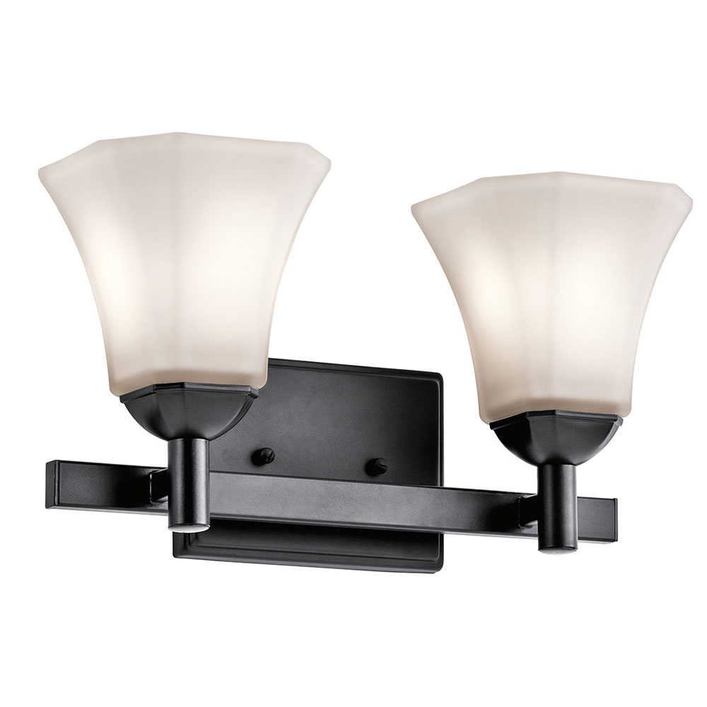 Bathroom Wall Sconces Black : Kichler 45732BK Serena Black 2-Light Bathroom Wall Sconce - KIC-45732BK