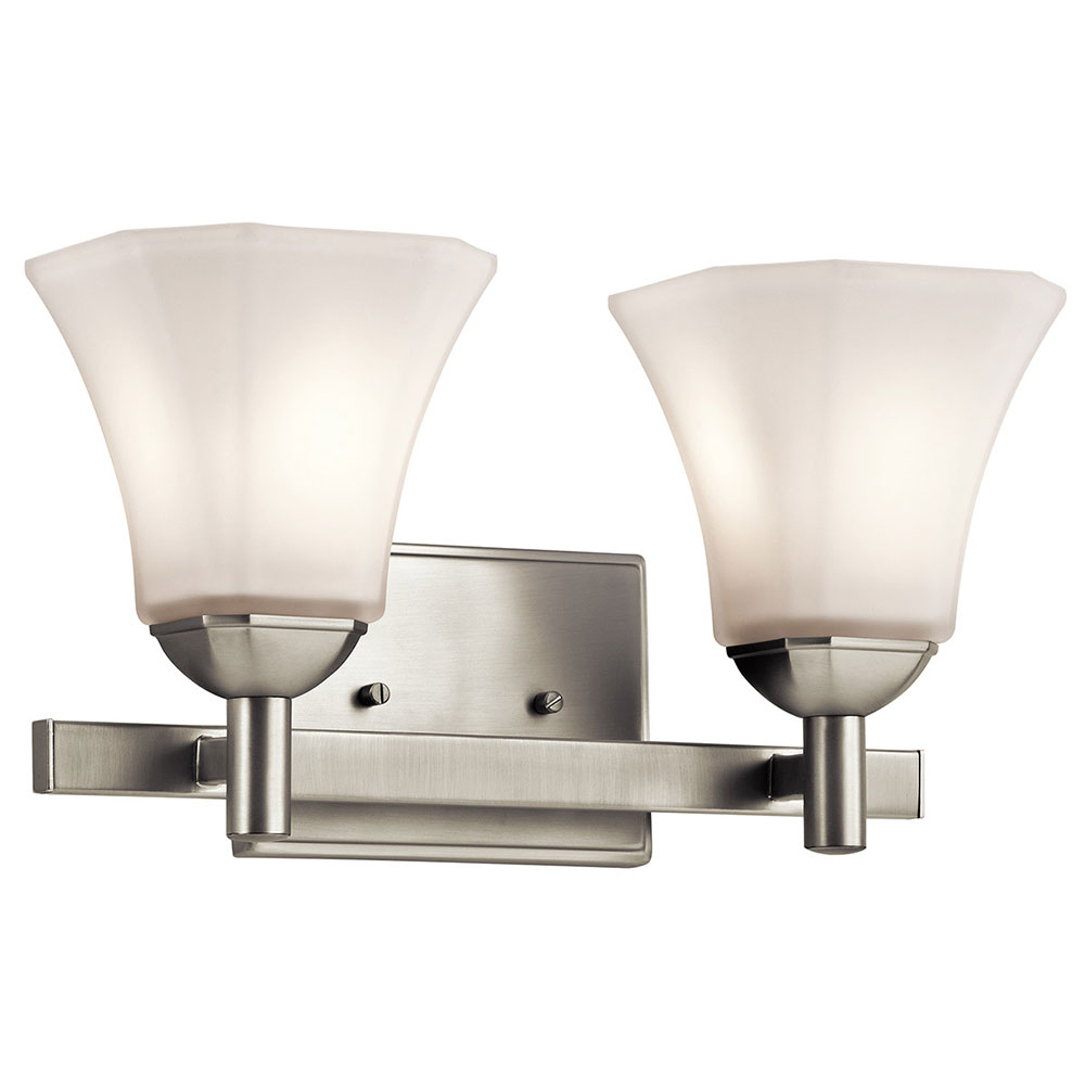 Kichler Bathroom Wall Sconces : Kichler 45732NI Serena Brushed Nickel 2-Light Bath Wall Sconce - KIC-45732NI