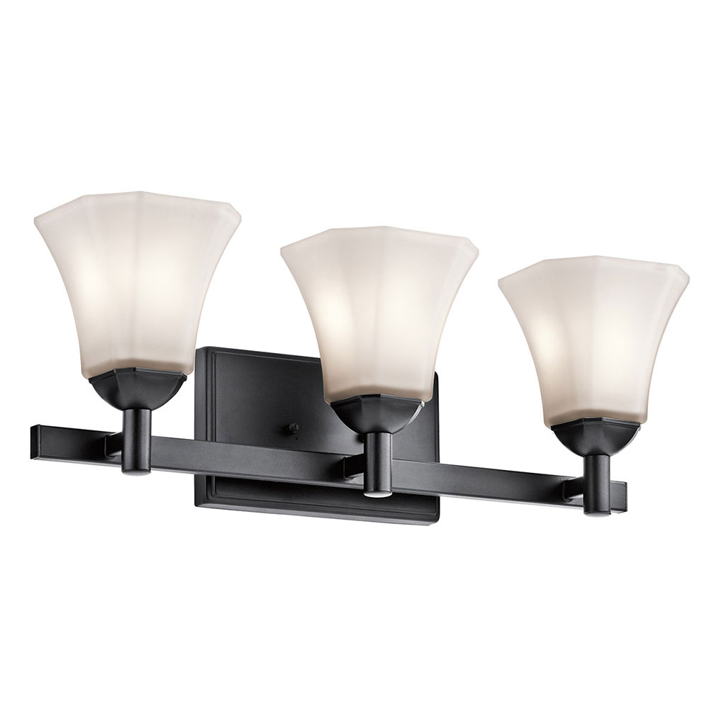 Kichler 45733bk serena black 3 light bathroom light sconce for 6 light bathroom vanity light