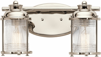 Kichler 45771PN Ashland Bay Polished Nickel 2-Light Lighting For Bathroom