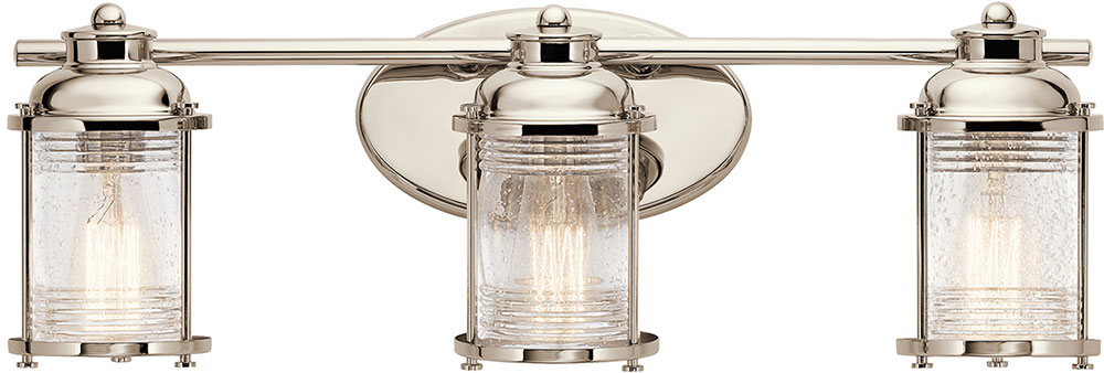 Nautical Bathroom Light Fixture: Kichler 45772PN Ashland Bay Polished Nickel 3-Light Bath