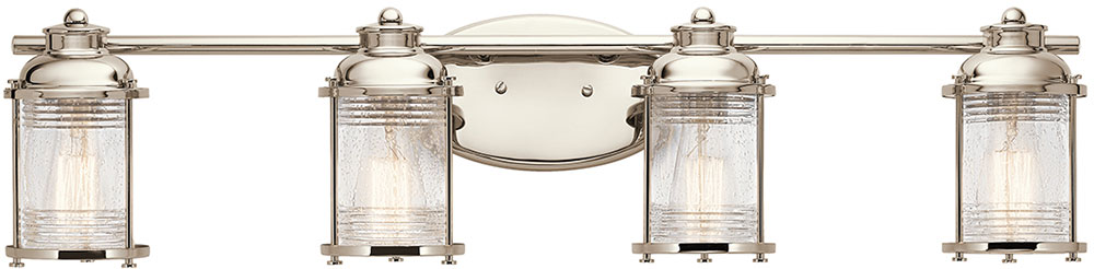 Bathroom Lighting Fixtures Polished Nickel kichler 45773pn ashland bay polished nickel 4-light bathroom light