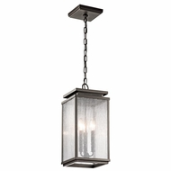 Kichler 49387OZ Manningham Traditional Olde Bronze Finish 19  Tall Exterior Mini Hanging Light Fixture