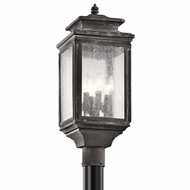 Kichler 49506WZC Wiscombe Park Traditional Weathered Zinc Finish 9  Wide Outdoor Post Light