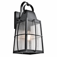 Kichler 49554BKT Tolerand Traditional Textured Black Finish 9.5 Wide Outdoor Lamp Sconce