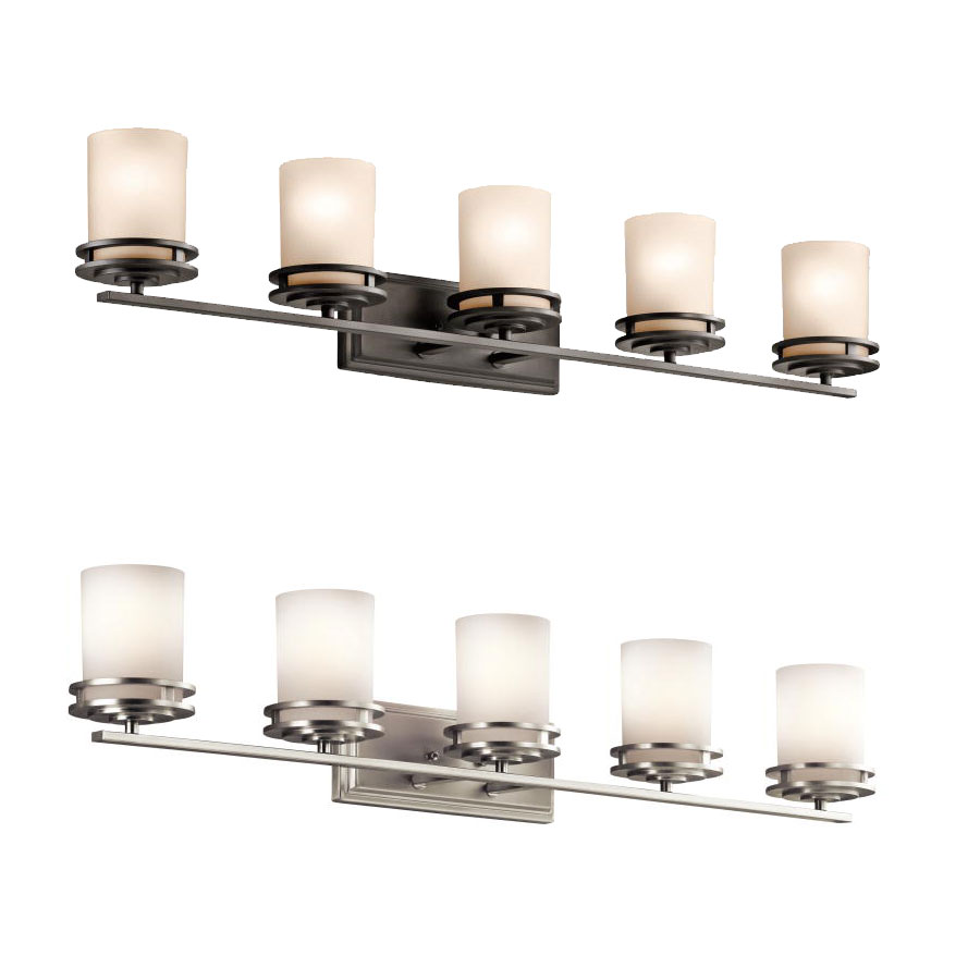 Kichler 5085 hendrik tall 5 light bathroom lighting for Bathroom lighting fixtures