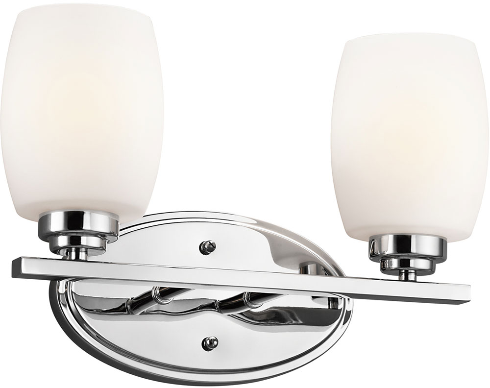 Kichler 5097chl16 eileen contemporary chrome led 2 light for Modern light fixtures bathroom