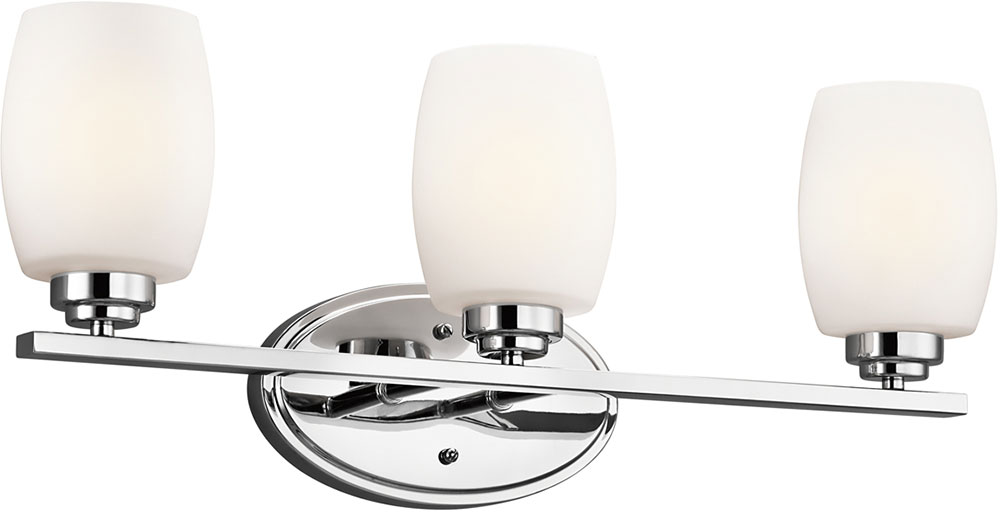 Modern Vanity Lighting Chrome : Kichler 5098CHL16 Eileen Contemporary Chrome LED 3-Light Bathroom Vanity Lighting - KIC-5098CHL16