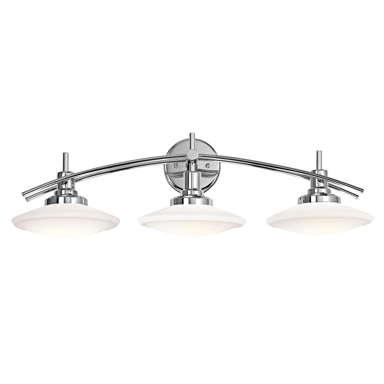 "Chrome Bathroom Light kichler 6463ch structures modern chrome finish 30"" wide 3-light"