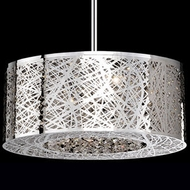 Kuzco 410108 Modern Chrome Halogen 20  Drum Pendant Light Fixture
