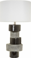 Lazy Susan 857134 Stacked Oval Contemporary Gray & Black Side Table Lamp