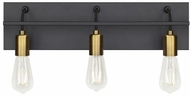 LBL BA1082BLABLED927 Tae Contemporary Black / Aged Brass LED 3-Light Bath Lighting Fixture