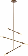 LBL CH951ABLED922 Line Wave Contemporary Aged Brass LED Mini Hanging Chandelier