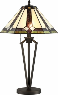 Lite Source C41389 Lance Tiffany Dark Bronze Fluorescent Table Lamp Lighting
