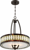 Lite Source C71390 Geoffrey Tiffany Dark Bronze Drum Pendant Lighting