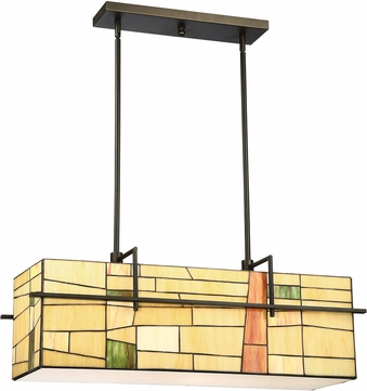Lite Source C71396 Mansur Tiffany Dark Bronze Island Lighting
