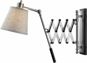 Lite Source LS-16145 Caprilla Contemporary Brushed Nickel Wall Swing Arm Lamp