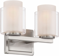 Lite Source LS-16322 Eliseo Modern Polished Steel 2-Light Bathroom Lighting