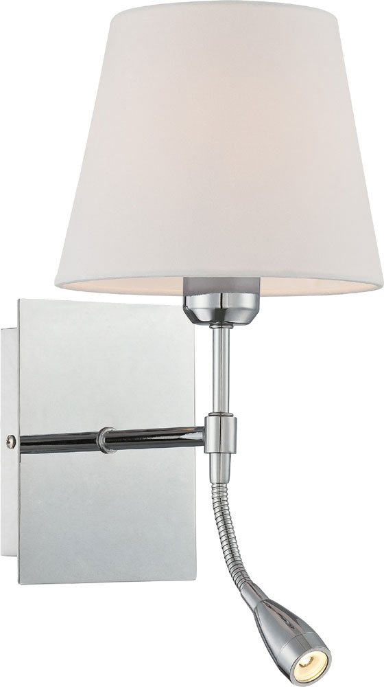 Lite Source LS-16588 Mitali Modern Chrome Bedside Lamp with LED Reading Light - LS-16588