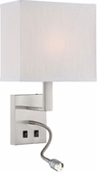 Lite Source LS-16979 Columbo Contemporary Polished Steel Headboard Lamp with LED Reading Light