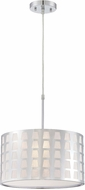 Lite Source LS-19600 Marciano Modern Chrome Finish 13.5  Wide Drum Hanging Pendant Lighting