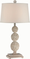 Lite Source LS-22422 Sand Dollar Nautical Brushed Antique White Fluorescent Side Table Lamp