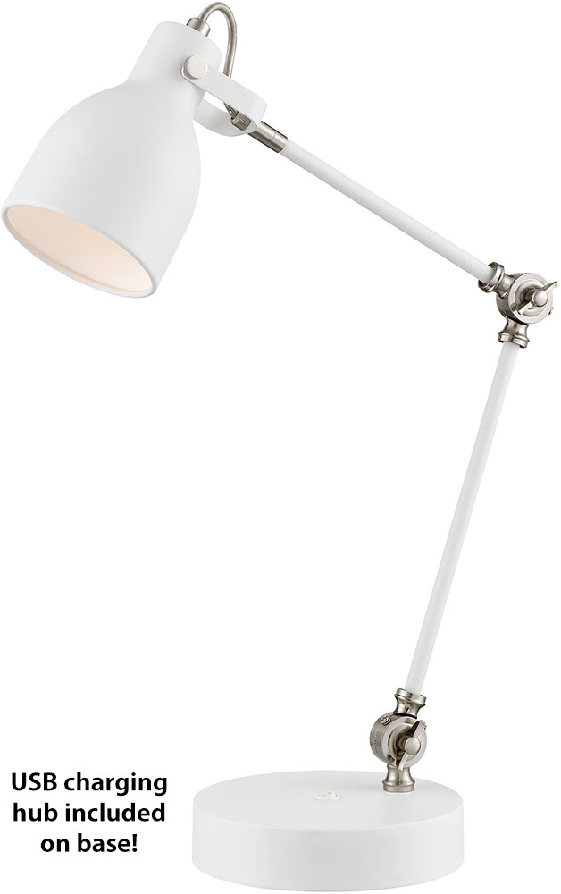 Lite Source LS 23046WHT Kalle Contemporary White Desktop Lamp W/ USB  Charging Port. Loading Zoom