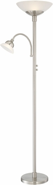 Lite Source LS-82936 Natalia Modern Polished Steel LED Torchiere Lamp w/ Reading Light