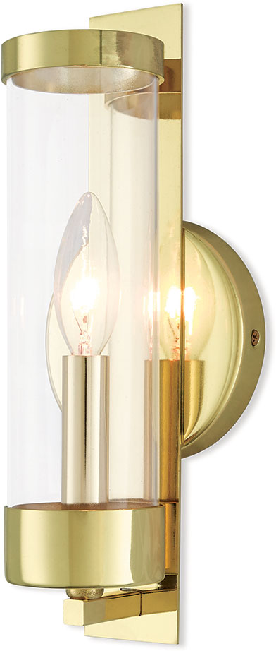 Livex 10141-02 Castleton Modern Polished Brass Wall Lamp - LVX-10141-02