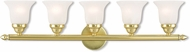 Livex 1065-02 Neptune Polished Brass 5-Light Bathroom Light