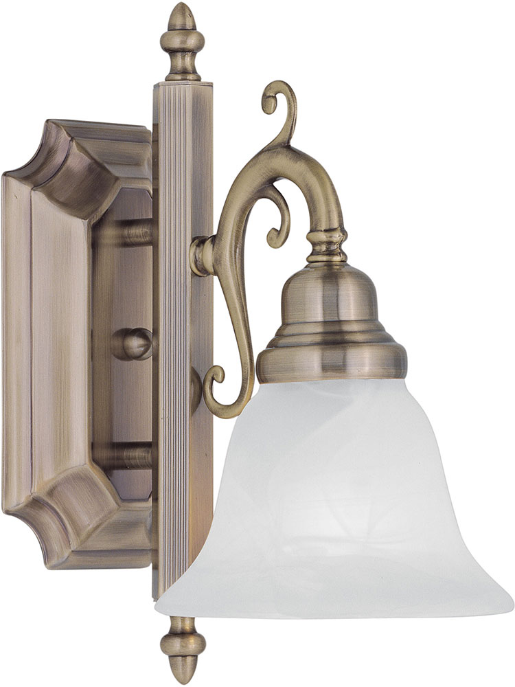 Livex 1281-01 French Regency Traditional Antique Brass Wall Lighting - LVX-1281-01