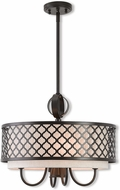 Livex 41115-92 Arabesque English Bronze 18  Drum Hanging Pendant Light