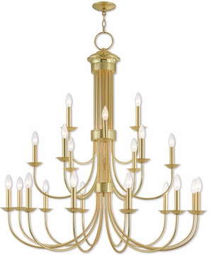 Livex 42688-02 Estate Polished Brass Chandelier Lamp