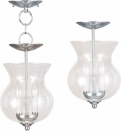 Livex 4393-35 Home Basics Polished Nickel Foyer Lighting Fixture / Flush Ceiling Light Fixture