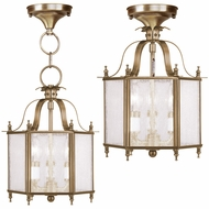 Livex 4397-01 Livingston Antique Brass Foyer Lighting / Home Ceiling Lighting